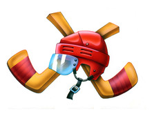 Ice Hockey Theme, Cross Hockey Sticks And Helmet Illustration