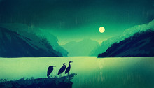 An American Egret Stands On A River Bank At Night. The Moon Is Shining. Illustration Painting