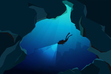 Scuba Divers Underwater In The Caves