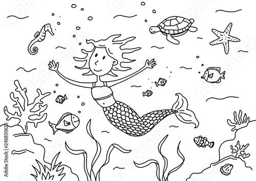 ausmalbilder unterwasserwelt meerjungfrau  coloring and