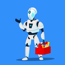Robot Repair Man Master Service Vector. Isolated Illustration