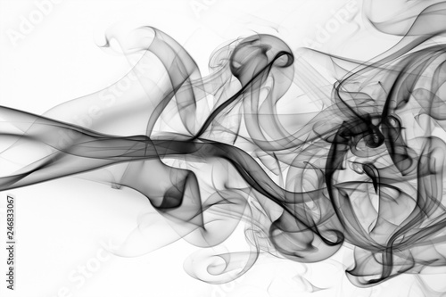Türaufkleber Rauch Black smoke abstract on white background, fire design, movement of toxic