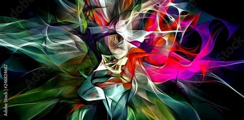 Abstract electrifying lines, smoky fractal pattern, digital illustration art work of rendering chaotic dark background. © natuliya