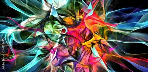 Fotografie, Obraz  Abstract electrifying lines, smoky fractal pattern, digital illustration art work of rendering chaotic dark background