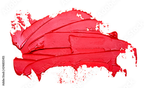 Fotografie, Obraz  Template for your banner text - textured red oil paint brush stroke, isolated on white background