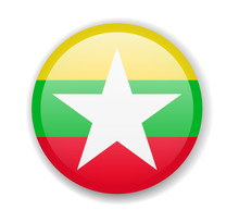 Myanmar Flag Round Bright Icon On A White Background