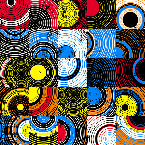 seamless background pattern, with circles, squares, strokes and splashes