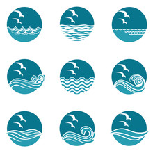 Collection Of Ocean Icons With...