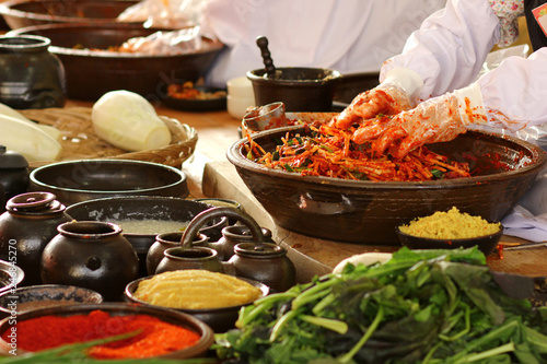 Foto op Aluminium Kruiderij 한국의 음식 배추 김치 축제 백그라운드 이미지