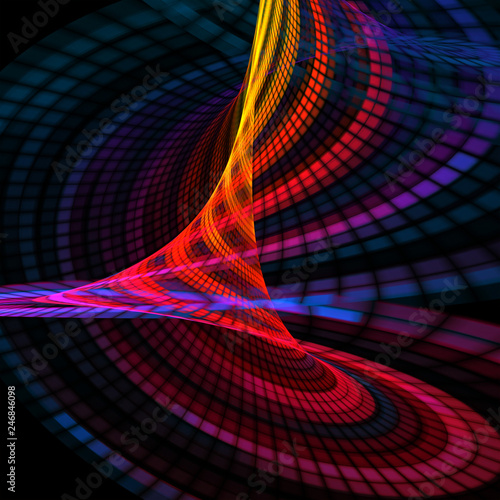 Foto auf AluDibond Fractal Wellen Colorful abstract swirl pixel. Beautiful background for art projects, business, template, banners, card