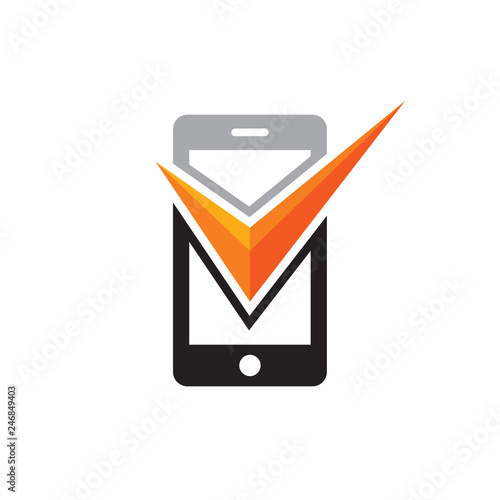 Mobile phone with check mark symbol vector logo concept