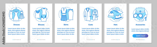 Women's clothes onboarding mobile app page screen with linear co Tapéta, Fotótapéta