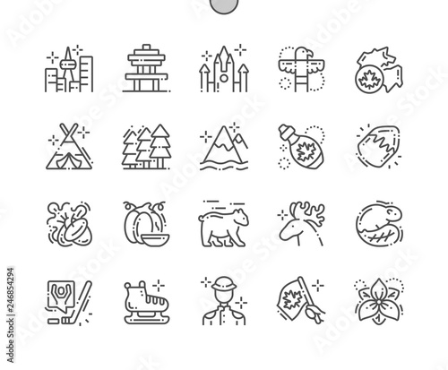 Canada Well-crafted Pixel Perfect Vector Thin Line Icons 30 2x Grid for Web Graphics and Apps. Simple Minimal Pictogram