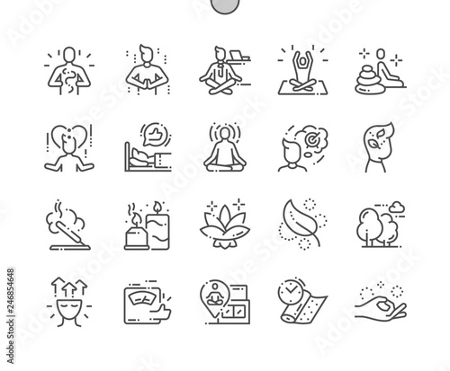 Meditation and spiritual practices Well-crafted Pixel Perfect Vector Thin Line Icons 30 2x Grid for Web Graphics and Apps. Simple Minimal Pictogram