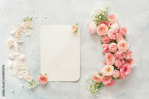 Blank Card With Rose Flowers And Gypsophila Blank
