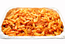 Foil Pan Filled With Baked Ziti Pasta