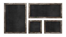 Chalkboard Set Wood Frame Signs Isolated White Background