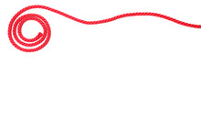 Spiral Made Of Red Rope On White Background, Top View With Space For Text