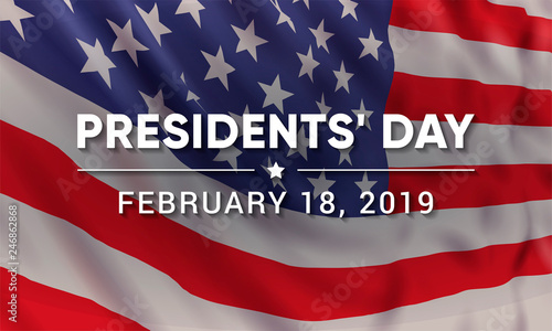 Vector banner design template for Presidents' Day with realistic american flag and text.