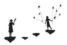 Boy With Pigeons Come To The Girl Standing On Flying Rock, Black And White, Date In Dreamland,