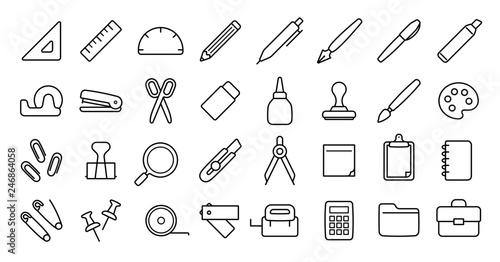 Obraz Stationery Icon Set (Thin Line Version) - fototapety do salonu