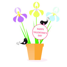 Happy Valentine's Day Banner. Yellow, Blue, Violet Iris, Green Leaves, Black Lovingbird Brown In Brown Pot Design Element Stock Vector Illustration For Web, For Print, For Congratulation Card
