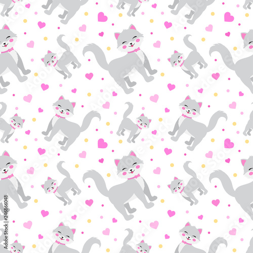 Cute little cat whith hearts seamless pattern. funny endless background, texture. Children's backdrop. Vector illustration.