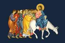 Jesus Riding A Donkey. Part Of Illustration Dominica In Palmis De Passione Domini. Palm Sunday. Fresco In Byzantine Style.