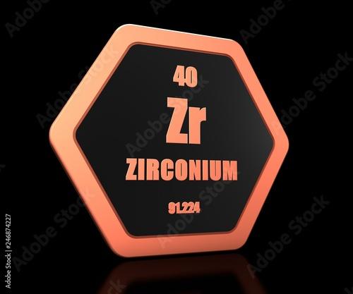 Valokuva  Zirconium chemical element periodic table symbol 3d render