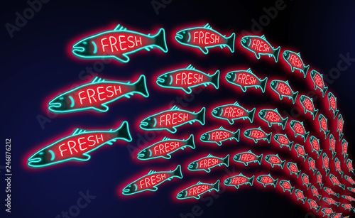 A glowing neon sign shows a fish with the word fresh and a large school swimming on the page in this seafood illustration.