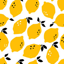 Hand Drawn Abstract Lemons. Co...