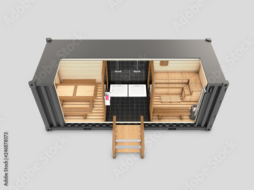 Converted old shipping container into sauna, 3d Illustration isolated gray view top © tussik
