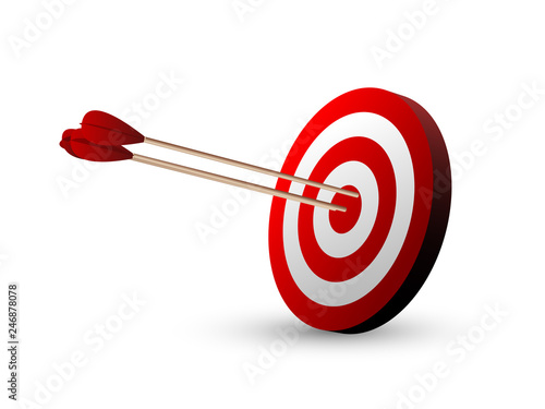Fotografía Beautiful realistic red and white archery targets on white background