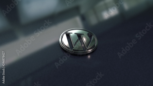 Fotografía  Wordpress symbol close up - metal shape on metallic background