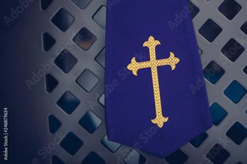 Cuadros en Lienzo  Purple fabric stole in confessional in church.