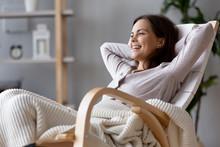Happy Millennial Woman Resting...