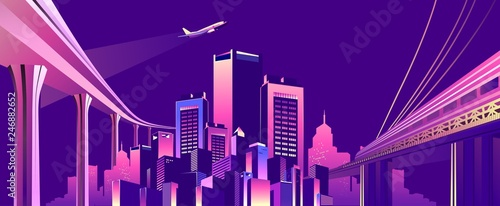 Poster Violet abstract buildings banner