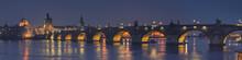 Panoramic View Of Charles Bridge At Night, Prague - Czech Republic