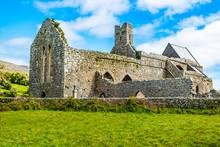 Corcomroe Abbey Ruins In Burren Region Of County Clare, Ireland