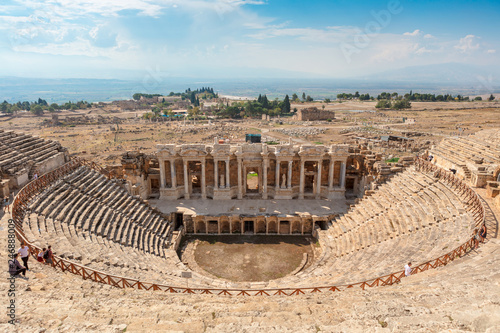 Poster Ruine The theatre at the ancient city of Hierapolis by the modern town of Pamukkale in Turkey's Inner Aegean region.