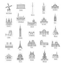 Set Of 25 Hand Drawn Landmarks...