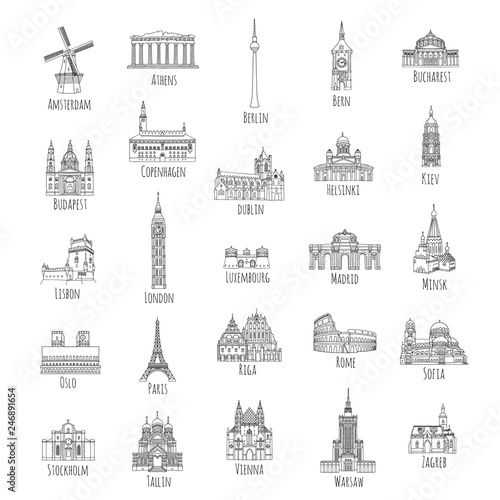 Photo  Set of 25 hand drawn landmarks from various European capitals, black ink illustr