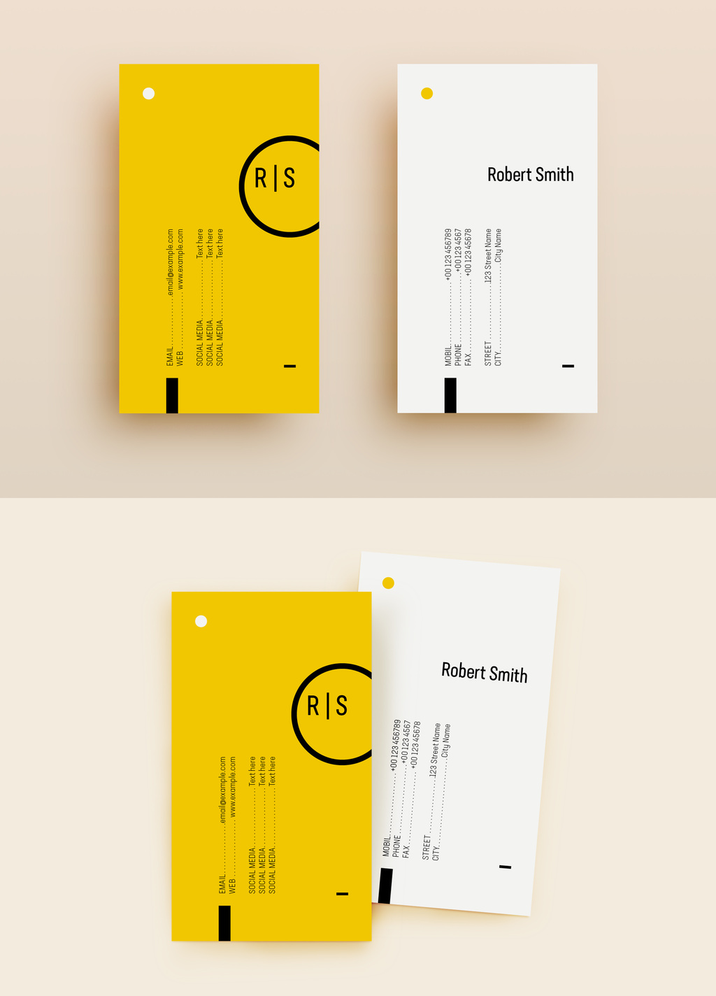 Yellow and White Business Card Template