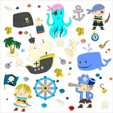 Cartoon Pirates Whale Parrot Blindfold Saber Frigate Chest Tube Octopus Palm Flag Flag Steering Sailor