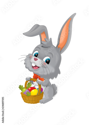 The happy easter rabbit with basket full of eggs on white background - illustration for the children