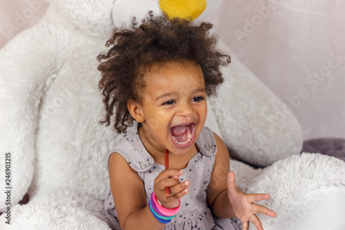 Happy child with open mouth