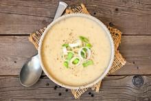 Potato And Leek Soup. Top View...