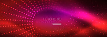 Vector Neon Red Dotted Abstract Background