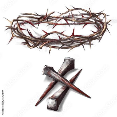 droga krzyżowa, zakrwawione gwoździe, korona cierniowa we krwi, krew Pana Jezusa Fototapet