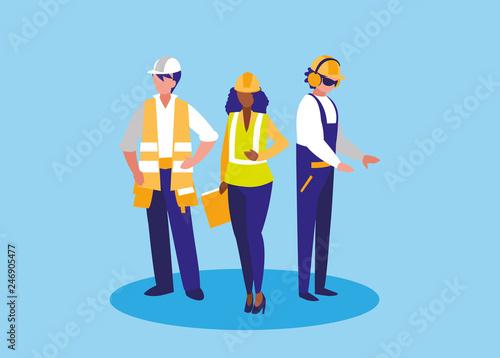 Fototapeta group of workers industrials avatar character obraz na płótnie